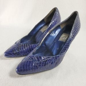 J. Renee Shoes, Women's, Size 7.5, Blue Snake Skin